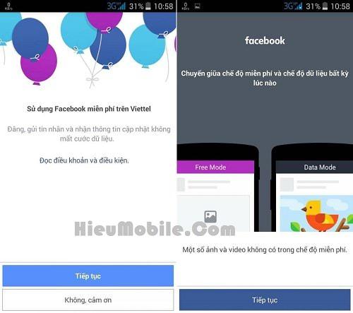 Thông báo của Facebook về tính năng miễn phí truy cập cho thuê bao Viettel