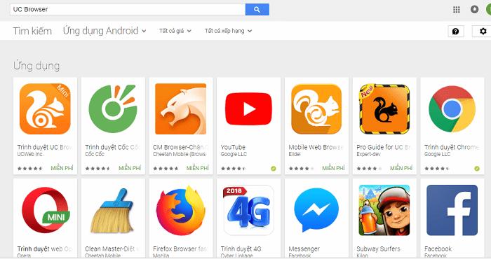 Không thể tìm thấy UC Browser phiên bản chuẩn trên CH Play nữa