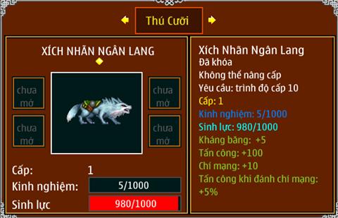 Xích nhãn Ngân Lang thú cưỡi có trong phần thưởng sự kiện Trung Thu của Ninja School Online 2015