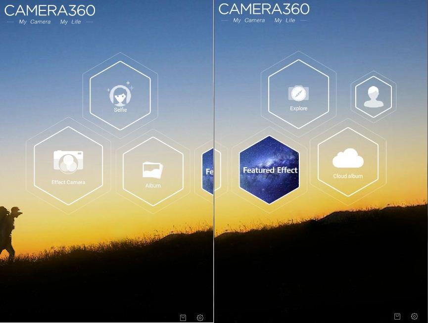 Giao diện trang chính của Camera 360