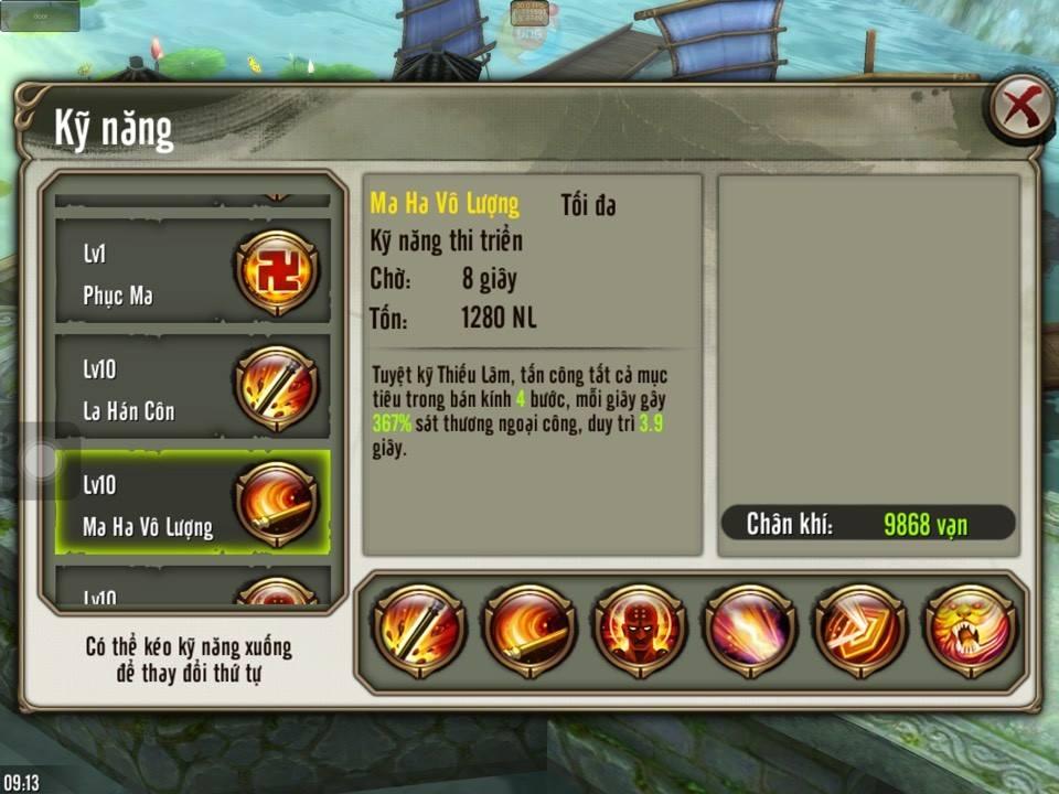 Thiếu Lâm buff các kỹ năng hỗ trợ ưu tiên dùng lao vào tấn công nhiều mục tiêu xong mới bồi thêm La Hán Côn và Ca Diếp Công</strong> trong Thiên Long Bát Bộ 3D