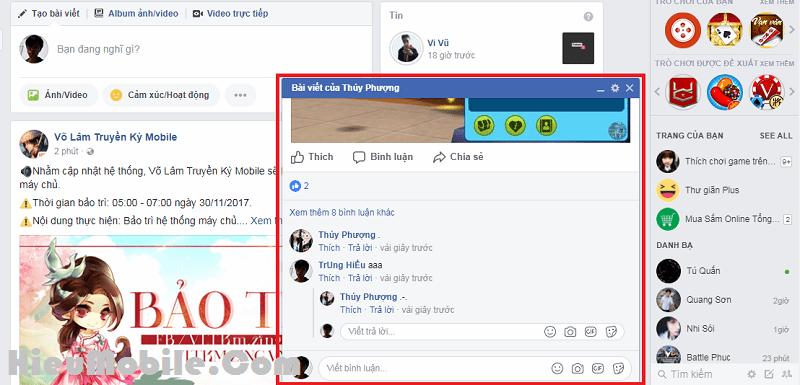 Như hình trên là một bảng thông báo dạng popup khi có bình luận về bài viết trên Facebook