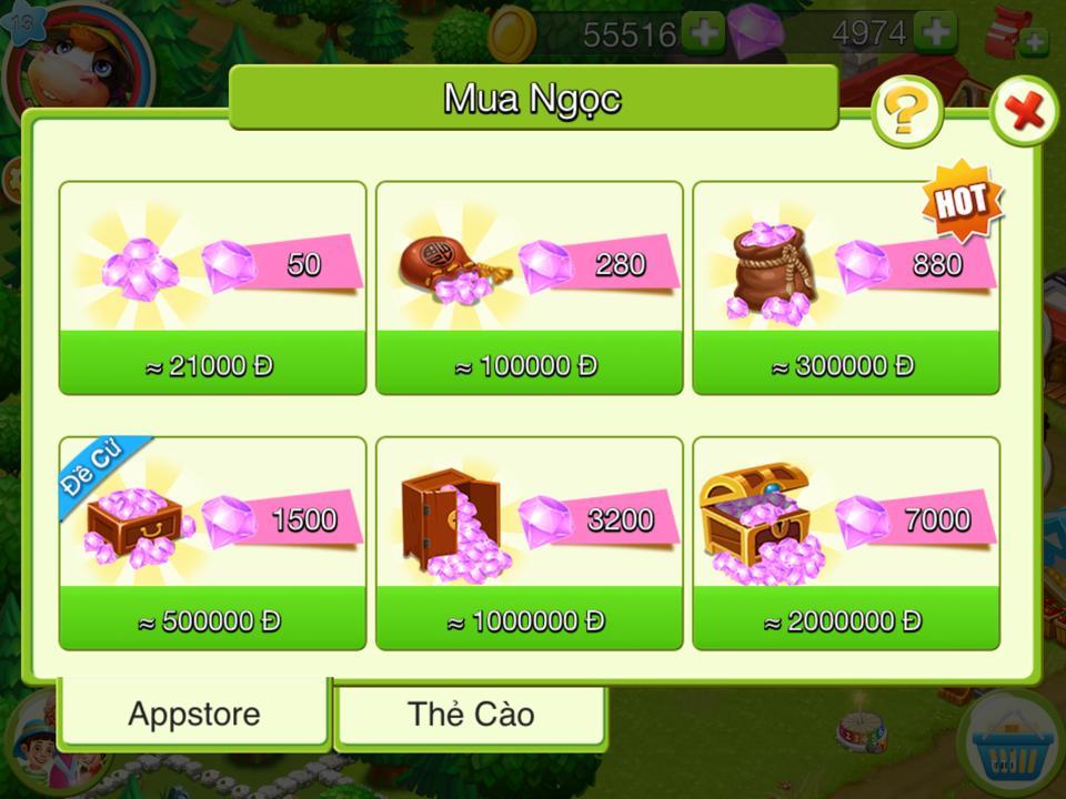 Nạp Ngọc vào game Nông Trại Việt bằng AppStore
