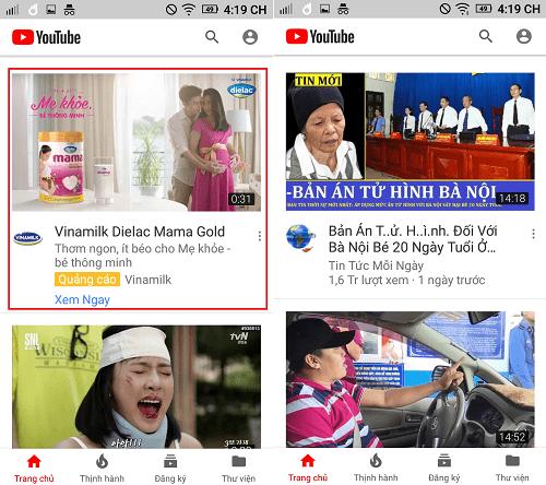 Youtube thường (trái) có quảng cáo ở đầu và Youtube Red (phải)