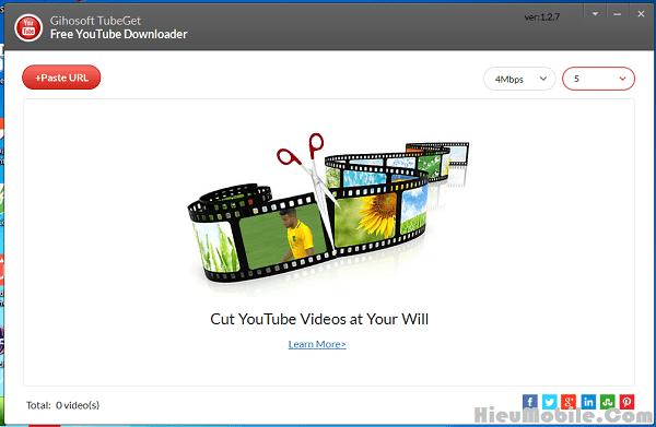 Giao diện chính của phần mềm Gihosoft TubeGet sau khi cài đặt