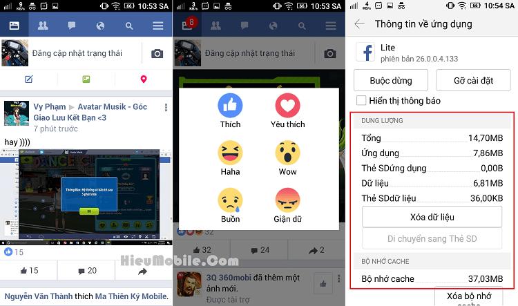 Giao diện của Facebook Lite kèm mức tiêu hao dung lượng