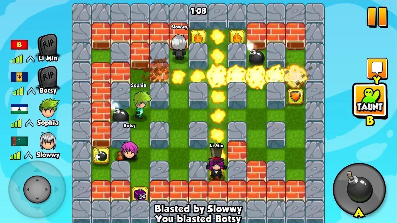 Giao diện bản đồ vui nhộn nhiều màu sắc game Bomber Friends
