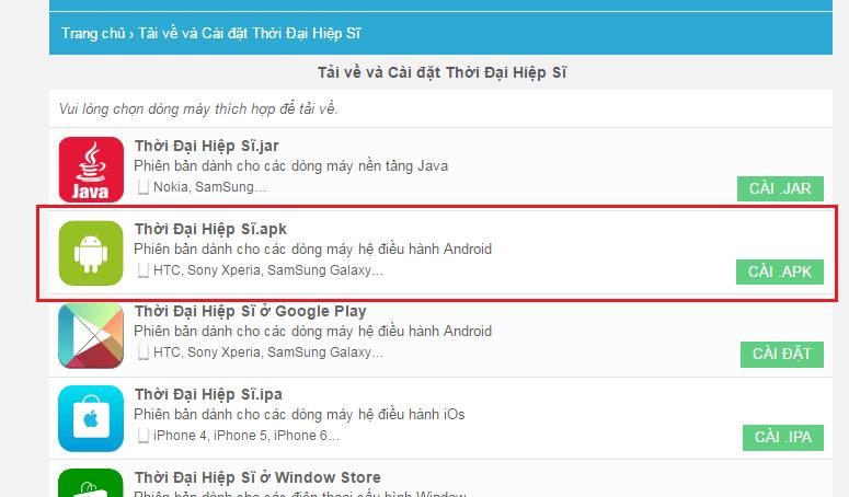 Cai dat game app Android apk khong bi loi