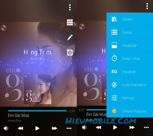 Các chức năng trong giao diện phát nhạc của ứng dụng Avee Player