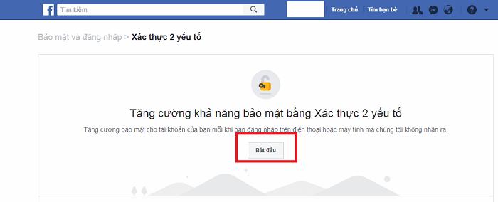 Bước 1 - cách kích hoạt tính năng xác thực 2 bước cho tài khoản Facebook trên giao diện web của máy tính