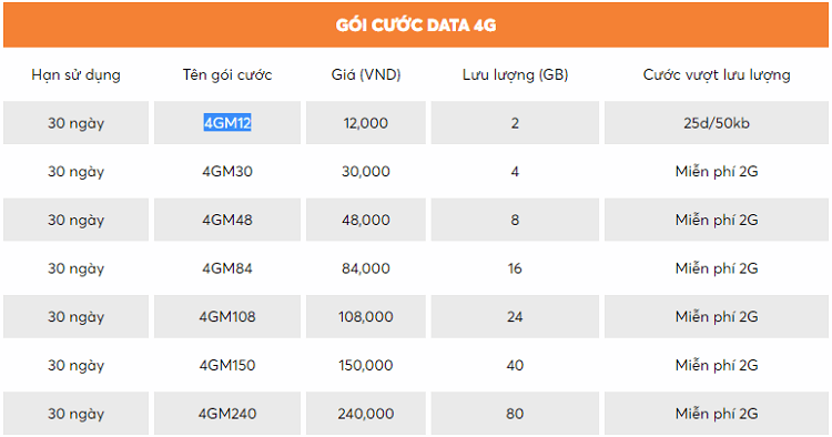 Các gói cước truy cập internet tốc độ 4G của nhà mạng Vietnamobile
