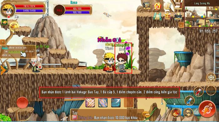 Các phần thưởng từ hoạt động Thu Phục Mãnh Thú của game Làng Lá Phiêu Lưu Ký