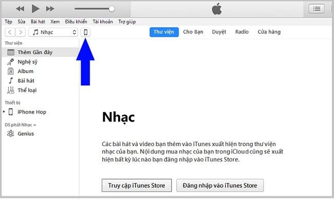 Biểu tượng chiếc điện thoại trong giao diện phần mềm iTunes