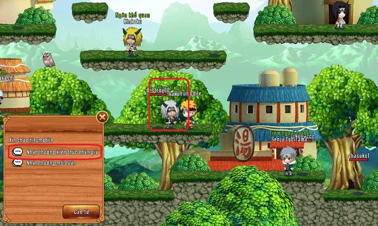 NPC Ginkaku (Phúc Lợi Quan) để nhận thưởng hoạt động Kiến Thức Nhẫn Giả