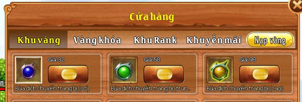 Các loai bùa dịch chuyển trang bị trong game Làng Lá Phiêu Lưu Ký