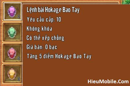 Các loại lệnh bài Hokage trong game Làng Lá Phiêu Lưu Ký