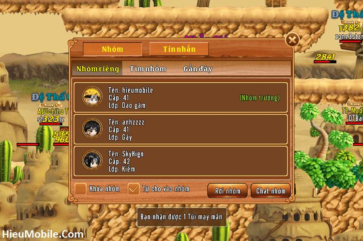 Các chức năng chính của Tổ đội trong game Làng Lá Phiêu Lưu Ký