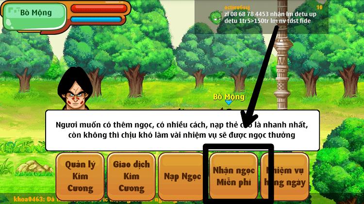 NPC Bò Mộng và tính năng nhận ngọc miễn phí trong game Ngọc Rồng Online