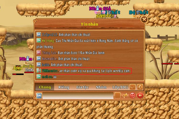 Một dòng chat chứa lời mời gọi vào trang web lừa đảo để nhận quà