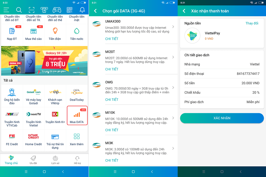 Hình ảnh optimized sr0h của ViettelPay giảm giá cước 20% khi đăng ký các gói data 3G, 4G tại HieuMobile
