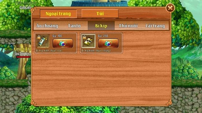 Các loại bíp kíp trong game Làng Lá Phiêu Lưu Ký
