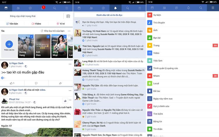 Ảnh chụp màn hình bên trong của ứng dụng Facebook Lite