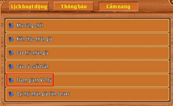 Cẩm nang hoạt động Tranh giành Vĩ Thú của game Làng Lá Phiêu Lưu Ký