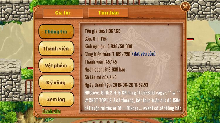 Thông tin của một Gia Tộc trong game Làng Lá Phiêu Lưu Ký (LLPLK)