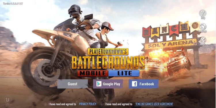 Giao diện đăng nhập của game PUBG Mobile Lite - phiên bản nhẹ dành cho những dòng điện thoại cấu hình thấp