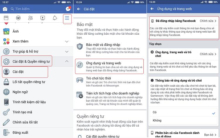 Truy cập lần lượt các mục theo hướng dẫn trên ứng dụng Facebook