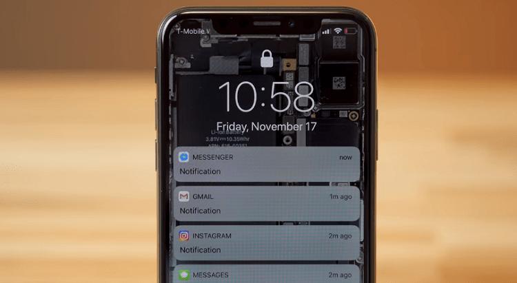 Ảnh minh họa thông báo của Messenger và một số ứng dụng khác hiển thị trên màn hình khóa điện thoại