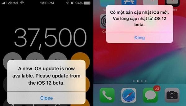 Lỗi liên tục hiển thị thông báo nhắc nhở cập nhật iOs 12 beta