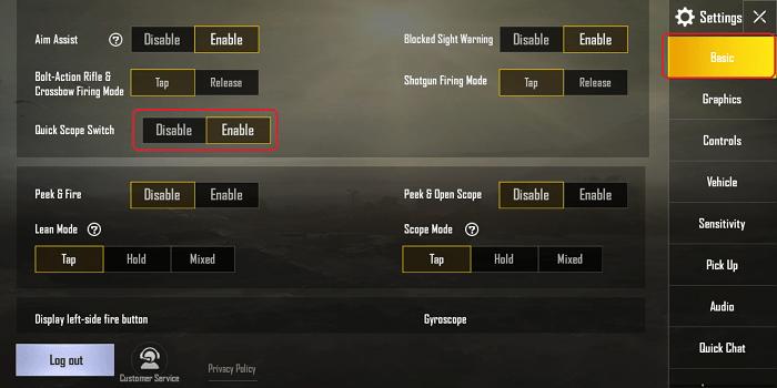 Hình ảnh optimized 5ty8 của Thêm chức năng thay ống ngắm Scope nhanh khi chơi PUBG Mobile tại HieuMobile