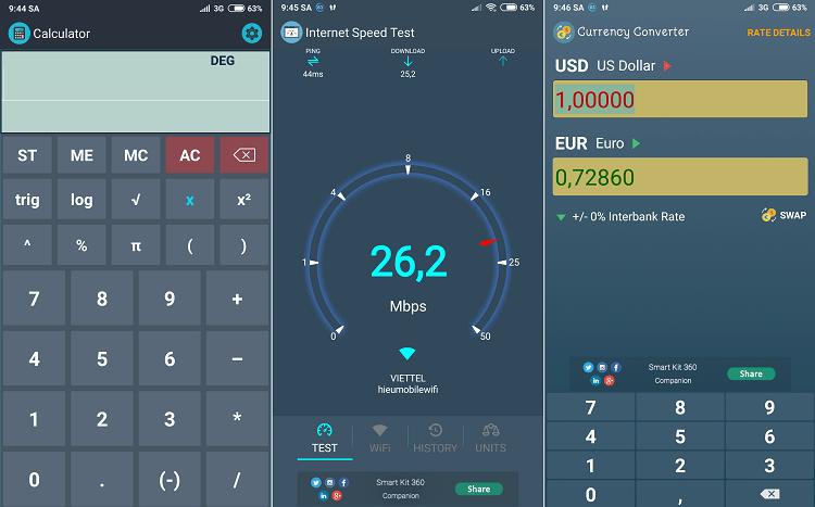 Máy tính, đo tốc độ mạng, chuyển đổi tiền tệ