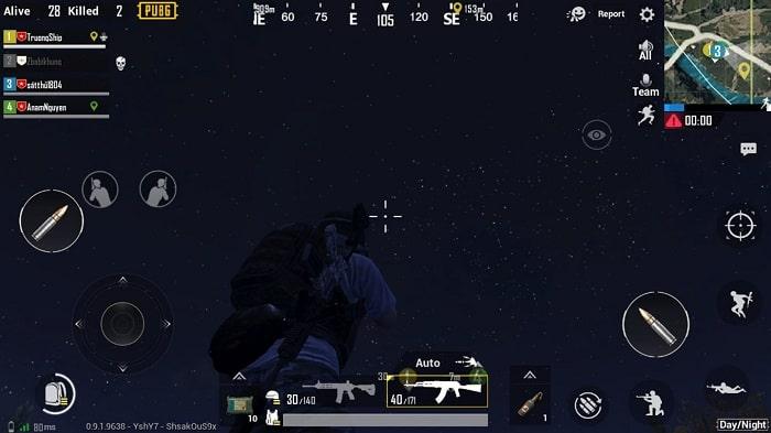 Hình ảnh một trận đấu đang trong chế độ Map Đêm (Night Mode) của game PUBG Mobile
