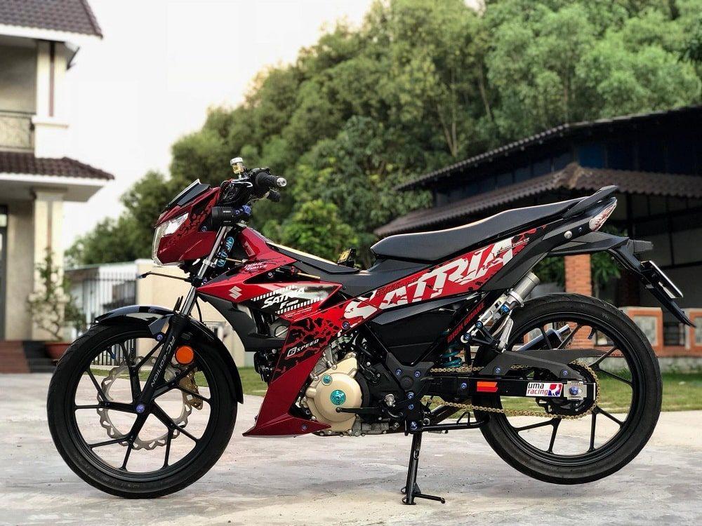 Hình ảnh optimized bnmx 1000x750 của Satria F150 2019 đen đỏ lên full đồ chơi kiểng khiến ai cũng choáng ngợp tại HieuMobile