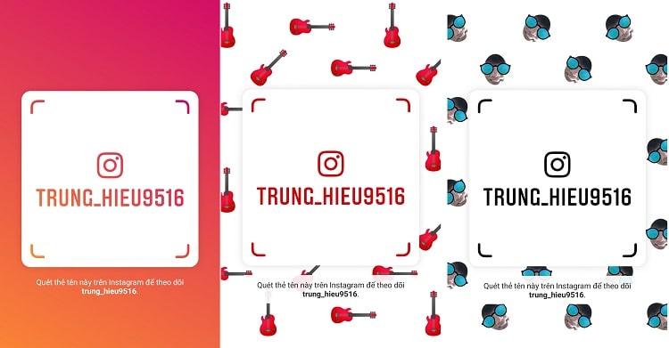 03 phong cách cho hình ảnh của Thẻ Tên của Instagram