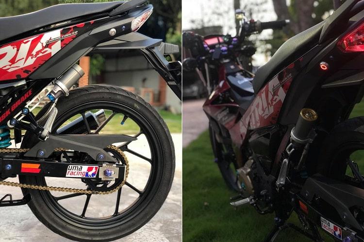 Hình ảnh optimized qlns của Satria F150 2019 đen đỏ lên full đồ chơi kiểng khiến ai cũng choáng ngợp tại HieuMobile