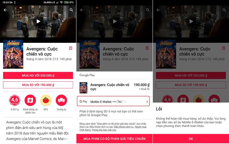 Ảnh ví dụ mua thử một bộ phim trên Google Play bằng ví điện tử MoMo, hệ thống phát hiện số dư không đủ nên thanh toán thất bại