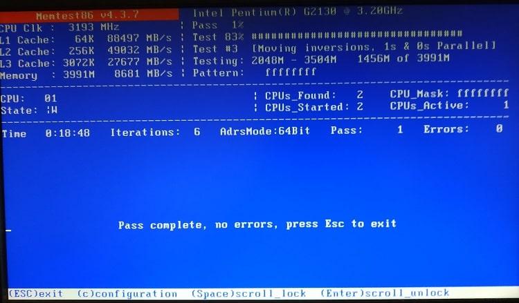 Như hinh trên đang là máy tính mình đã trải qua 1 lần kiểm tra (PASS 1) và chưa phát hiện lỗi (Errors 0 kèm thông báo Pass complete, noerrorrs...)