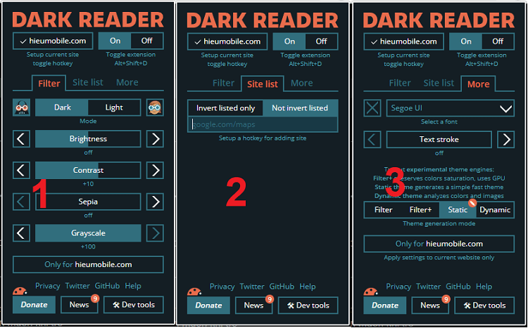 Hình ảnh optimized lnay của Tải Dark Reader: Đổi giao diện đen cho tất cả trang web, hỗ trợ tùy chỉnh tại HieuMobile