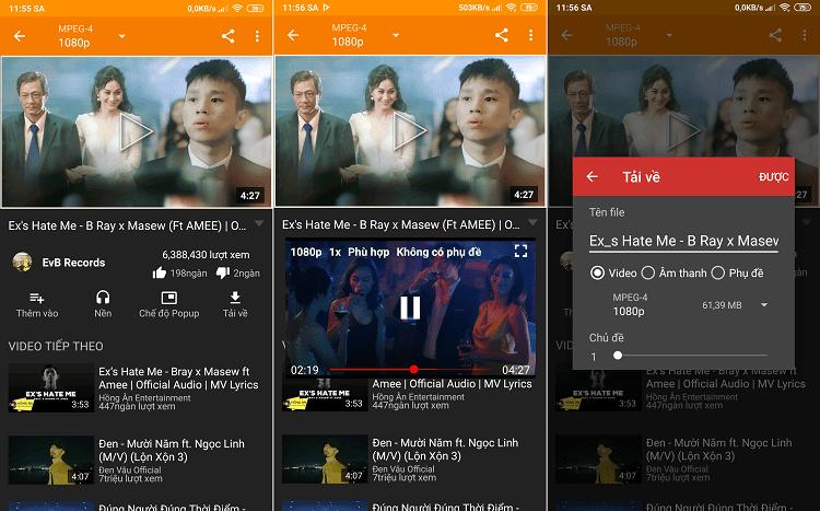 Các tính năng của NewPipe đều có mặt ở giao diện thông tin video trong đó nổi bật là phát với giao diện nhỏ và tải về video - âm thanh - phụ đề lưu trữ vào điện thoại