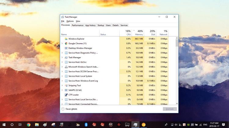 Khi chưa bật tính năng Skip best effort tasks thì Chrome tiêu hao 168.2MB RAM
