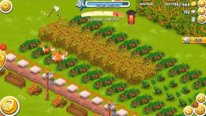 Một góc vườn trồng cây trái bố trí hài hòa đẹp mắt trong game Hay Day