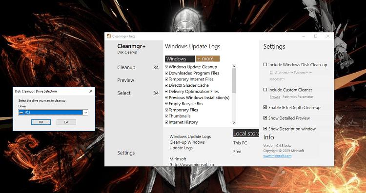Công cụ Disk Cleanup (trái) có sẵn trên Windows và phần mềm dọn dẹp rác Cleanmgr + (phải)