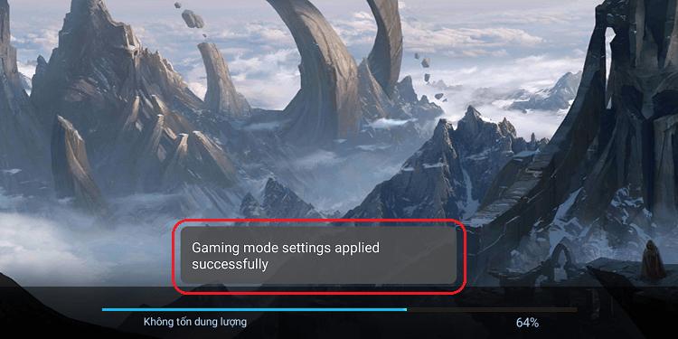 Khi game được kích hoạt bằng Gaming Mode sẽ có thông báo như hình dưới
