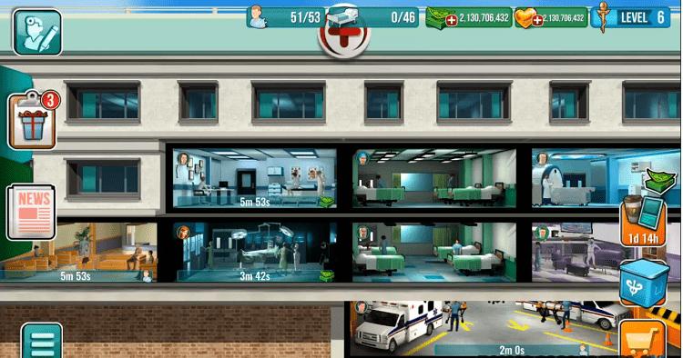 Giao diện khi mới vào game Operate Now: Hospital và các căn phòng bệnh viện mà bạn có