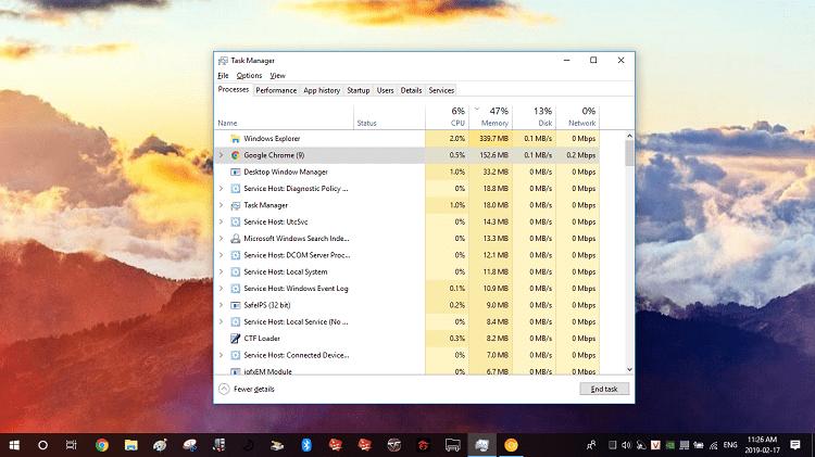 Và khi tính năng Skip best effort tasks đã kích hoạt thì Chrome tiêu hao 152.6MB RAM