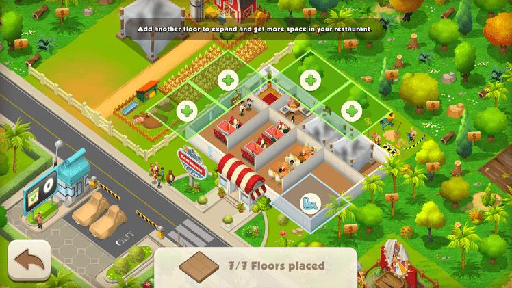 Bạn có thể mở rộng quy mô, diện tích hoạt động cho cả nhà hàng lẫn trang trại của mình trong game Tasty Town