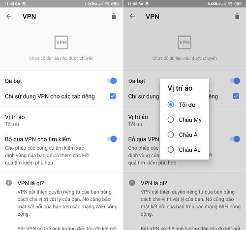 Các tùy chỉnh thiết lập của tính năng VPN trên Opera